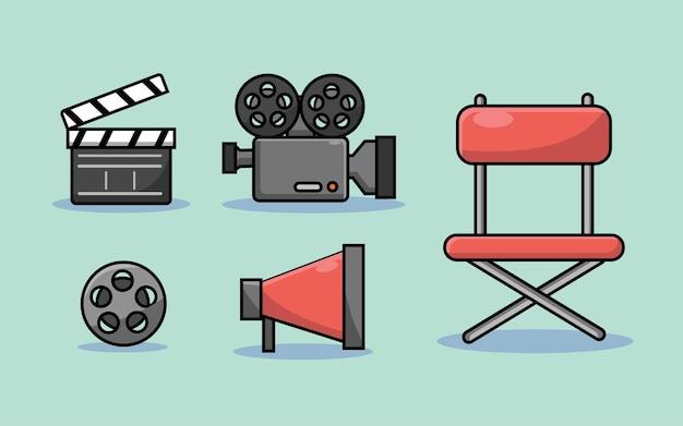 Illustration de paquet de jeu d'objets de film