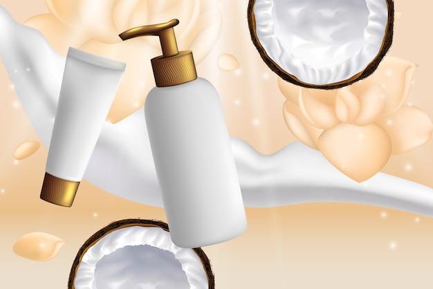 Illustration de paquets de cosmétiques à la noix de coco.