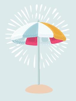 Illustration parapluie de plage rouge et blanc. le symbole des vacances au bord de la mer