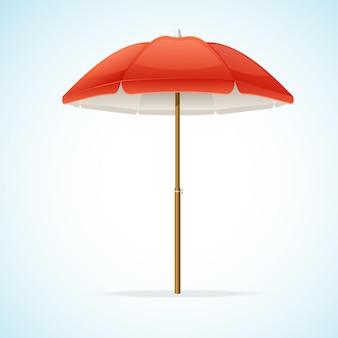 Illustration parapluie de plage rouge isolé sur fond.