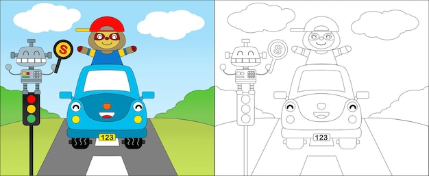 Illustration paresseux heureux au volant d'une voiture