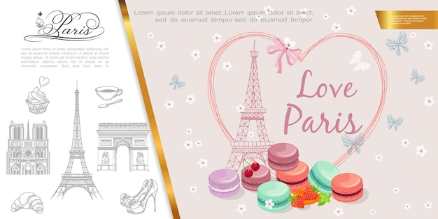 Illustration de paris romantique dessiné à la main