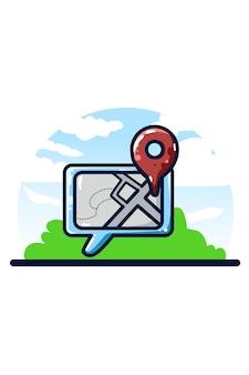 Illustration de partage de localisation dessin à la main