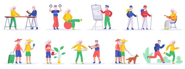 Illustration de passe-temps pour personnes âgées