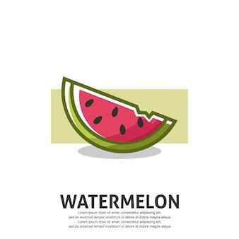Illustration de pastèque au design plat