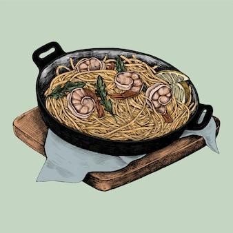 Illustration d'une pâtes de fruits de mer