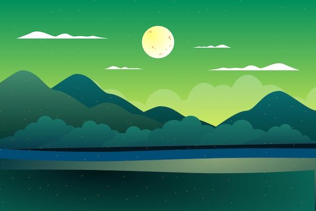 Illustration de paysage abstrait coloré vert montagne et ciel