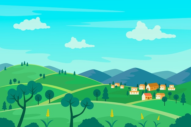Illustration de paysage de campagne