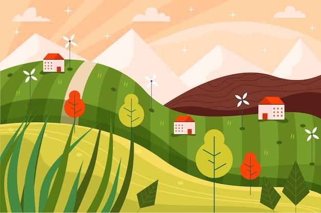Illustration de paysage design plat
