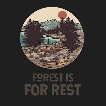 Illustration de paysage dessiné main coloré avec citation inspirante