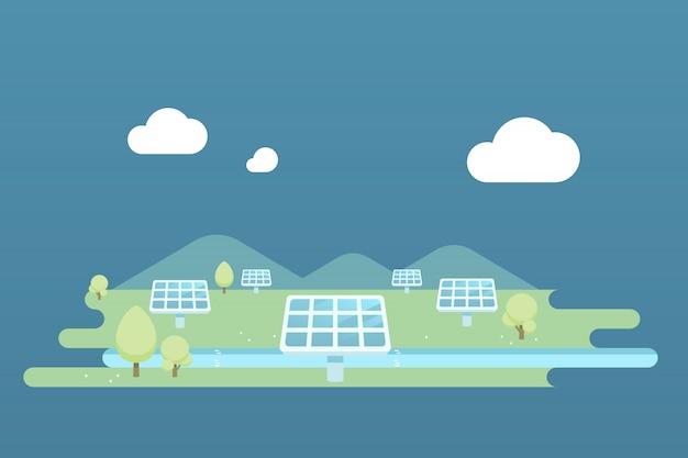 Illustration de paysage de ferme de cellules solaires.