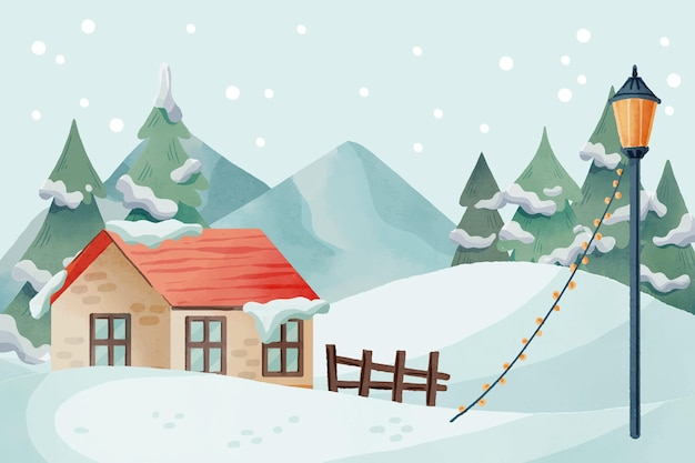 Illustration de paysage d'hiver aquarelle