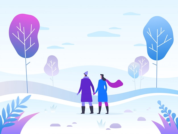 Illustration de paysage d'hiver avec couple explorant la forêt d'hiver