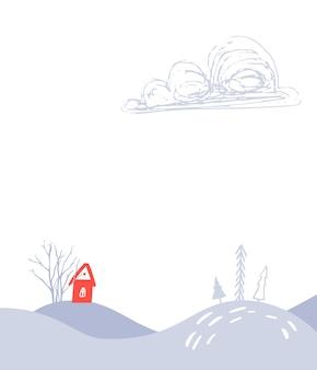 Illustration de paysage d'hiver de fond de noël avec la petite maison rouge et la banque des arbres de neige