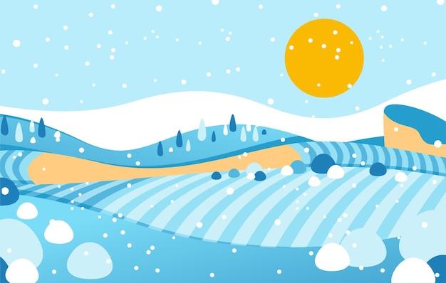 Illustration de paysage en hiver, avec des montagnes et des collines couvertes de neige.