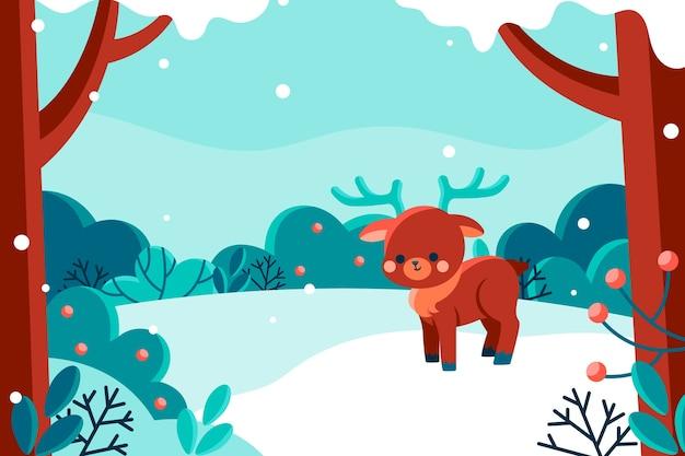 Illustration de paysage d'hiver plat dessiné à la main