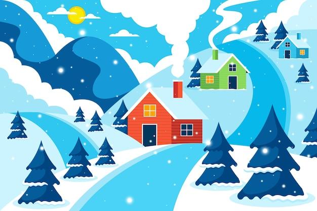 Illustration de paysage d'hiver plat