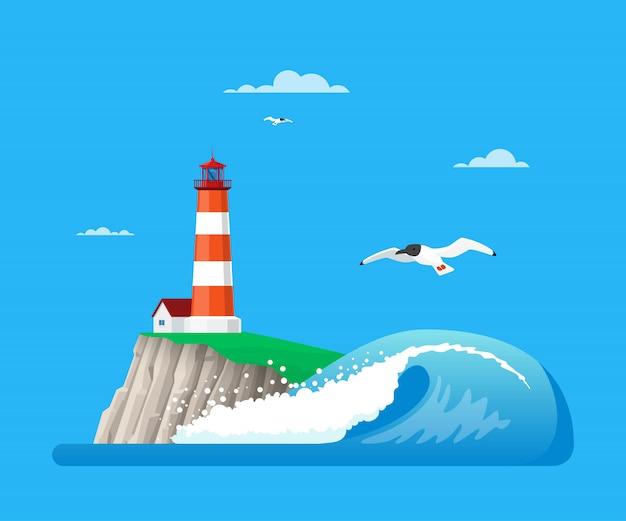 Illustration de paysage marin avec phare dans un style plat