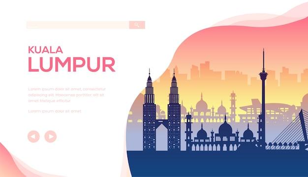 Illustration de paysage minimaliste de paysage urbain. silhouettes de monuments anciens et modernes