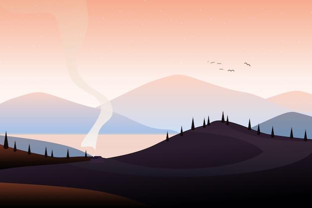 Illustration de paysage de montagne