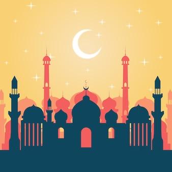 Illustration de paysage de mosquée