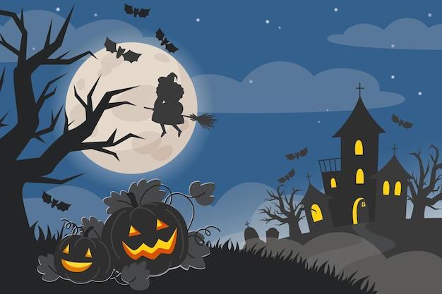 Illustration de paysage de nuit d'halloween avec château, citrouilles, sorcière sur balai et pleine lune