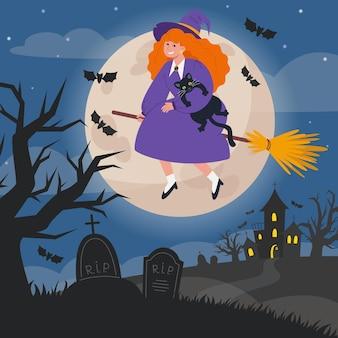 Illustration de paysage de nuit d'halloween avec pierres tombales, sorcière sur balai et pleine lune