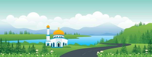 Illustration de paysage panoramique islamique
