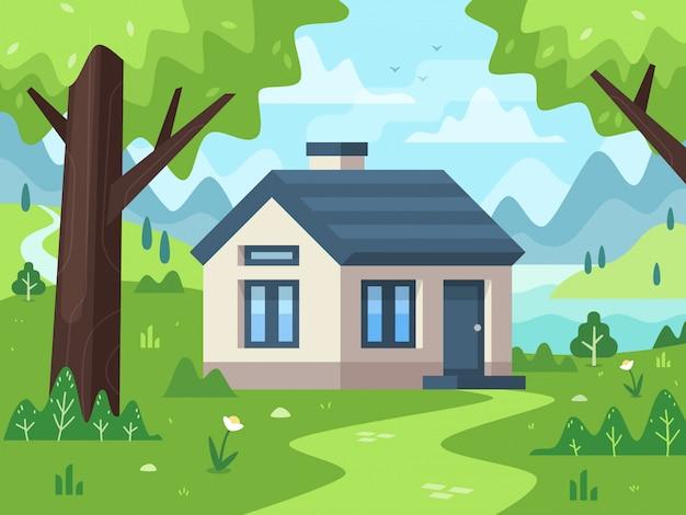 Illustration de paysage de petite maison