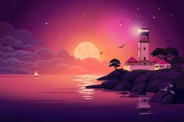Illustration de paysage de phare