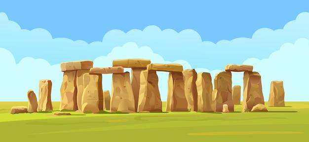 Illustration De Paysage De Pierre De Stonehenge Vecteur Premium