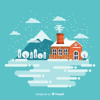 Illustration de paysage plat d'hiver