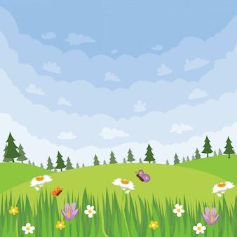 Illustration de paysage de printemps au carré
