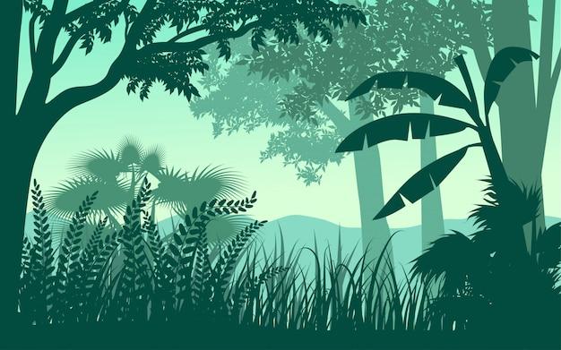 Illustration de paysage silhouette forêt tropicale