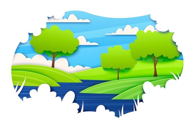 Illustration de paysage de style papier