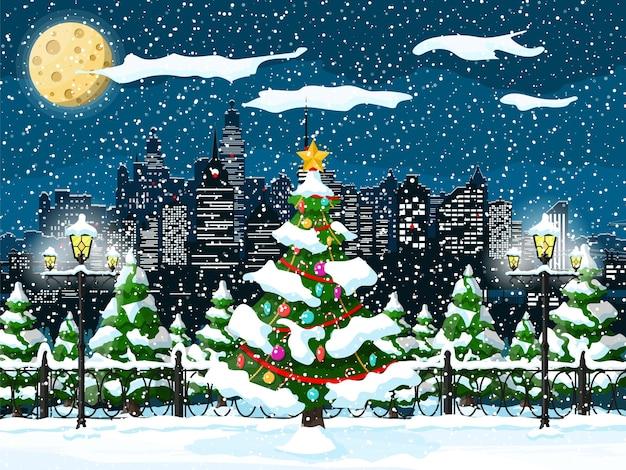 Illustration de paysage urbain de noël hiver