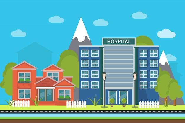 Illustration de paysage urbain plat avec des bâtiments de sommets de montagnes