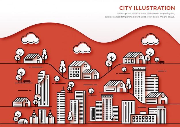Illustration de paysage urbain, style de ligne mince