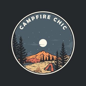 Illustration de paysages de camping au milieu de la forêt avec un feu de joie