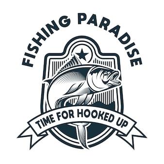 Illustration de pêche avec crochet et cordes lâches adaptées à l'impression de logos et de t-shirts