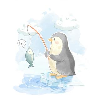 Illustration de pêche mignon pingouin sur ciel bleu