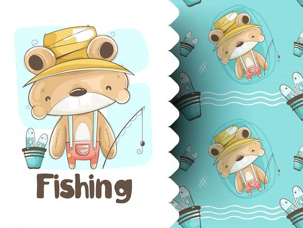 Illustration de la pêche à l'ours en peluche et motif