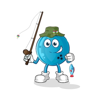 Illustration de pêcheur de boule de bowling. personnage