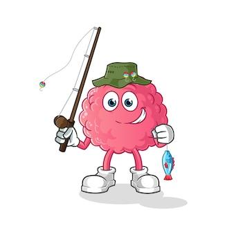 Illustration de pêcheur de cerveau. personnage