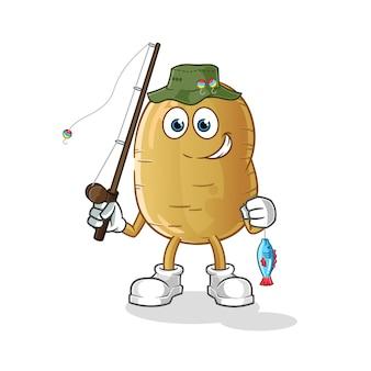 Illustration de pêcheur de pommes de terre