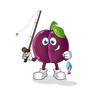 Illustration de pêcheur de prune. personnage