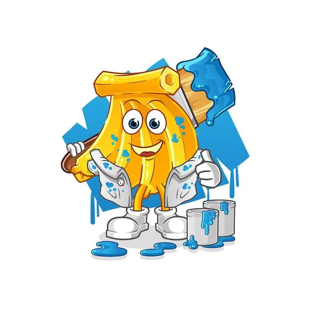 Illustration de peintre de bananes de tas. mascotte de dessin animé