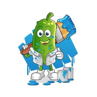 Illustration de peintre de concombre. personnage