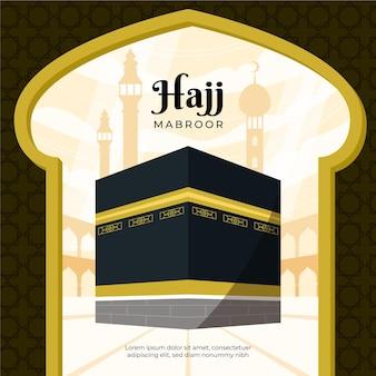 Illustration de pèlerinage hajj islamique plat organique