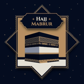 Illustration de pèlerinage plat islamique hajj